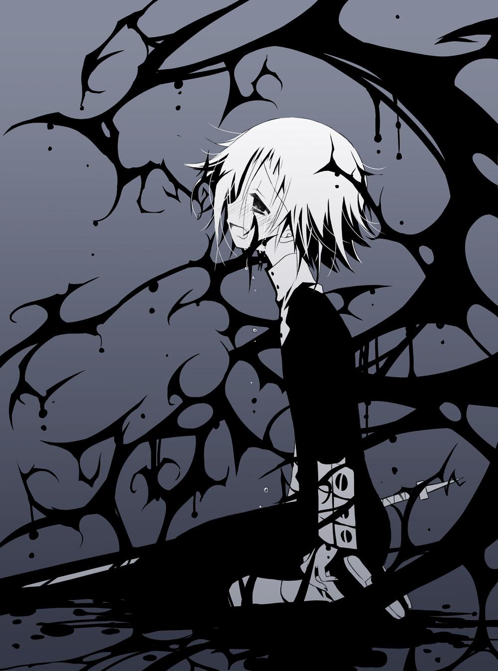 androgynous blue_background highres makenshi_chrona monochrome ragnarok_(demon_sword) sad sakurazawa_izumi soul_eater sword tears weapon