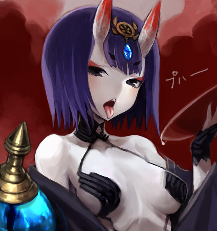 1girl breasts eyebrows eyebrows_visible_through_hair fate/grand_order fate_(series) hiro1984 horns japanese_clothes kimono looking_at_viewer oni open_clothes open_kimono open_mouth pale_skin purple_hair sakazuki short_hair shuten_douji_(fate/grand_order) solo teeth tongue tongue_out violet_eyes