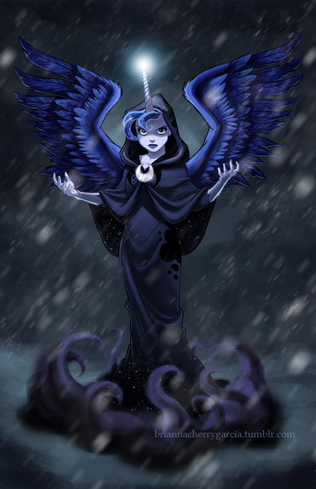 1girl blue_eyes blue_hair brianna_garcia dark_persona dress horn lipstick long_hair luna_(my_little_pony) makeup my_little_pony my_little_pony_friendship_is_magic night personification rain solo wings