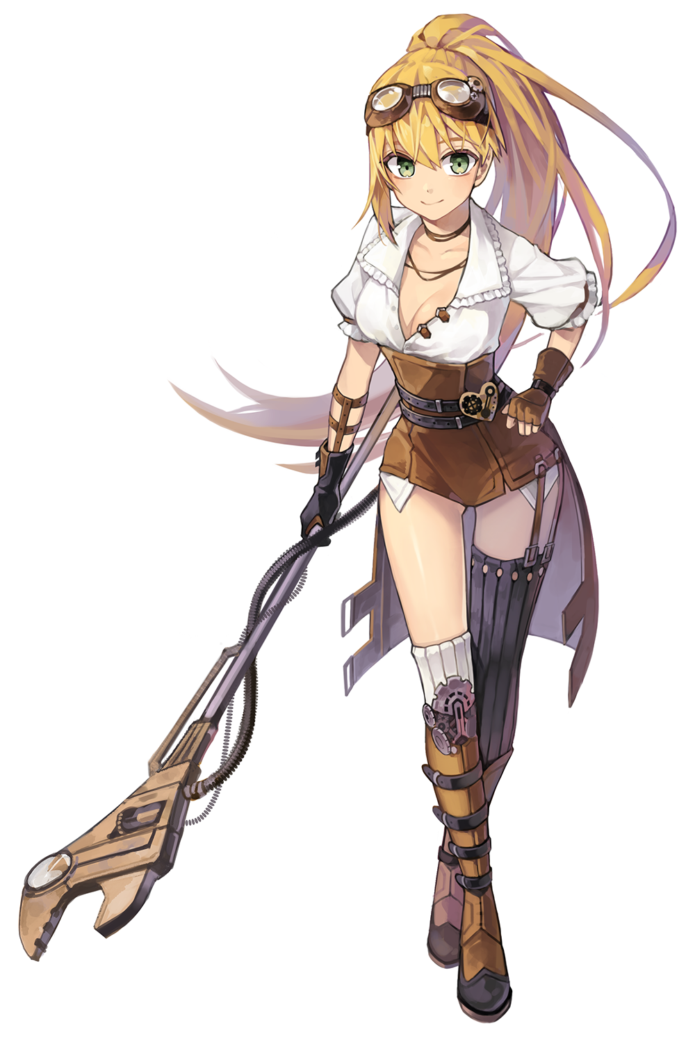 1girl belt blonde_hair breasts cleavage corset crossed_legs fingerless_gloves gears gloves green_eyes highres kinchee long_hair looking_at_viewer mismatched_legwear original ponytail ribbed_legwear smile staff standing steampunk thigh-highs very_long_hair wrench