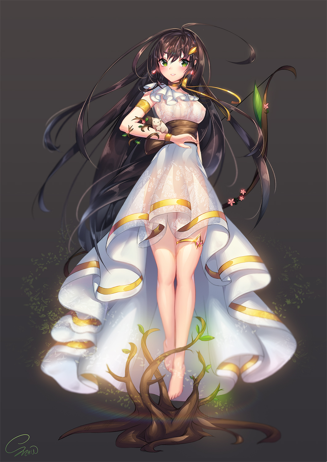 1girl barefoot black_hair bow_(weapon) breasts choker dress full_body green_eyes hair_ornament highres long_hair original ribbon_choker rodent see-through simple_background smile snow_is_ solo thigh_strap tree weapon