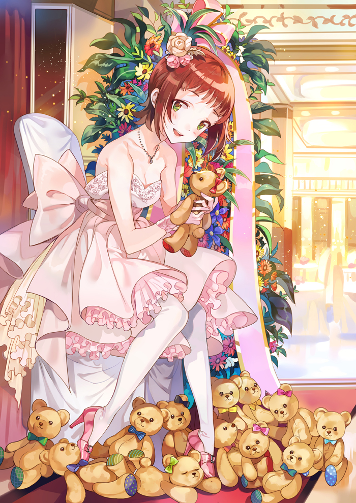 1girl amami_haruka bare_shoulders blush breasts brown_hair chair cleavage collarbone dress flower green_eyes hair_flower hair_ornament high_heels idolmaster inzup jewelry necklace short_hair sitting smile solo strapless strapless_dress stuffed_animal stuffed_toy teddy_bear thigh-highs