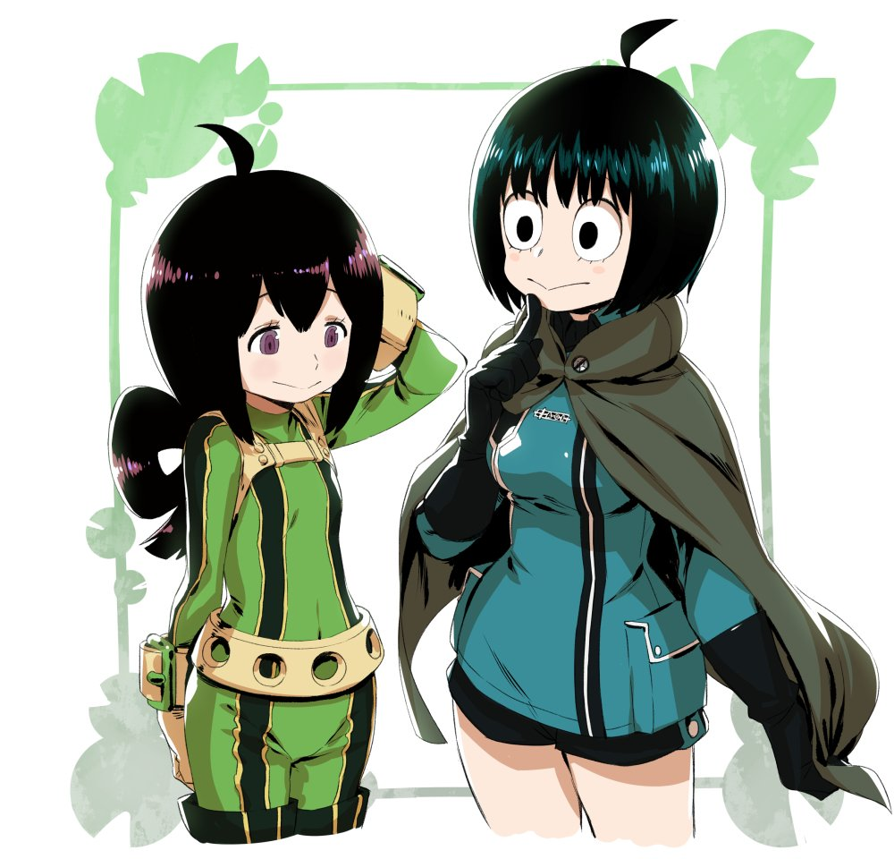 2girls ahoge alternate_hair_length alternate_hairstyle amatori_chika amatori_chika_(cosplay) animal_connection asui_tsuyu asui_tsuyu_(cosplay) belt black_eyes black_hair blush boku_no_hero_academia breasts cape company_connection cosplay flat_chest frog_eyes frog_girl gloves long_hair multiple_girls murakami_hisashi short_hair smile thigh-highs violet_eyes world_trigger