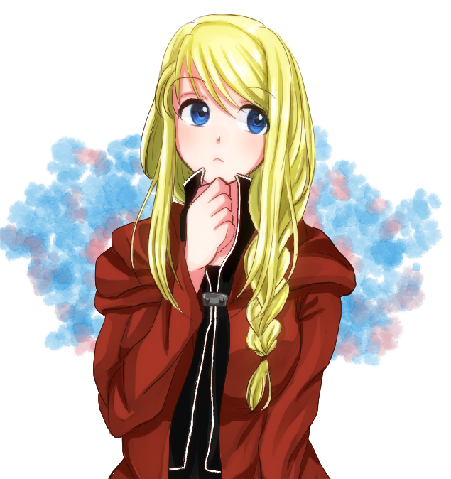 1girl bangs black_shirt blonde_hair blue_background blue_eyes braid cosplay edward_elric edward_elric_(cosplay) expressionless eyebrows_visible_through_hair eyes_visible_through_hair fullmetal_alchemist hand_on_own_chin jacket long_hair looking_away machi_(xxx503r) pink_background purple_background red_jacket shirt simple_background solo upper_body white_background winry_rockbell