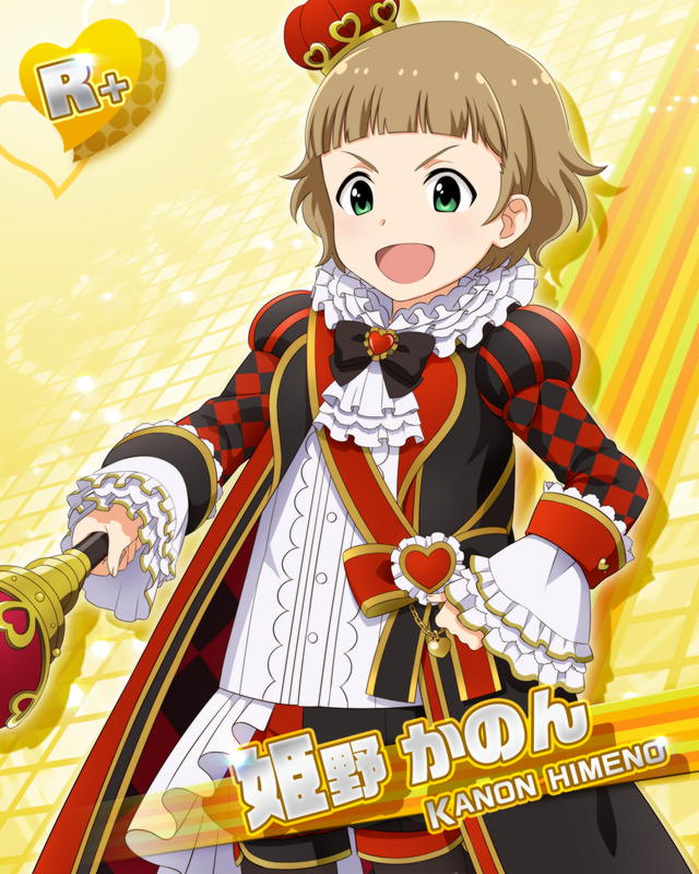 1boy alice_in_wonderland blush brown_hair card_(medium) character_name cosplay crown green_eyes himeno_kanon idolmaster idolmaster_side-m male_focus mini_crown official_art open_mouth queen_of_hearts queen_of_hearts_(cosplay) scepter short_hair smile solo