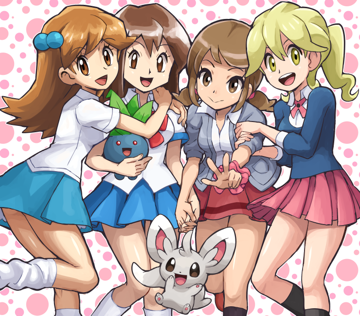4girls blazer blonde_hair brown_eyes brown_hair jacket lass_(pokemon) minccino multiple_girls oddish pokemoa pokemon pokemon_(creature) pokemon_(game) skirt socks yellow_eyes