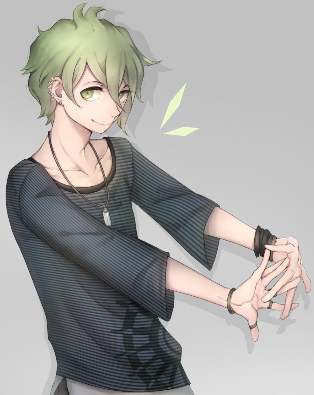 1boy bangle bracelet danganronpa earrings green_eyes green_hair grey_background highres jewelry looking_at_viewer necklace new_danganronpa_v3 paxio44 ring shirt simple_background smile striped striped_shirt