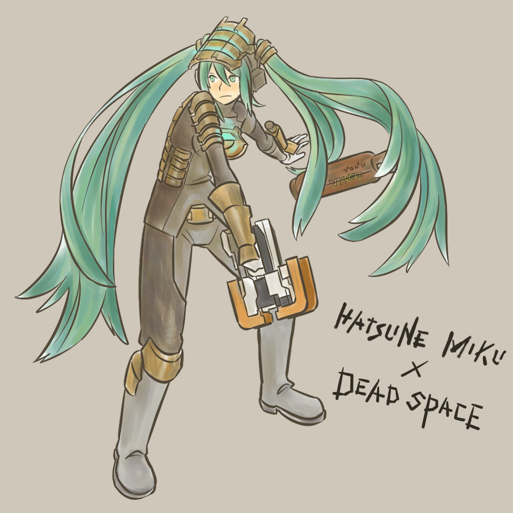 armor bad_id boots cosplay crossover dead_space green_eyes green_hair gun hako_live hatsune_miku isaac_clarke isaac_clarke_(cosplay) long_hair plasma_cutter solo twintails very_long_hair vocaloid weapon