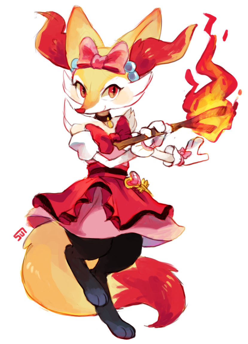 bow braixen choker dress fire flame fug_(4chan) hair_bow no_humans pink_skirt pokemon serena_(pokemon)_(cosplay) skirt solo standing standing_on_one_leg white_background