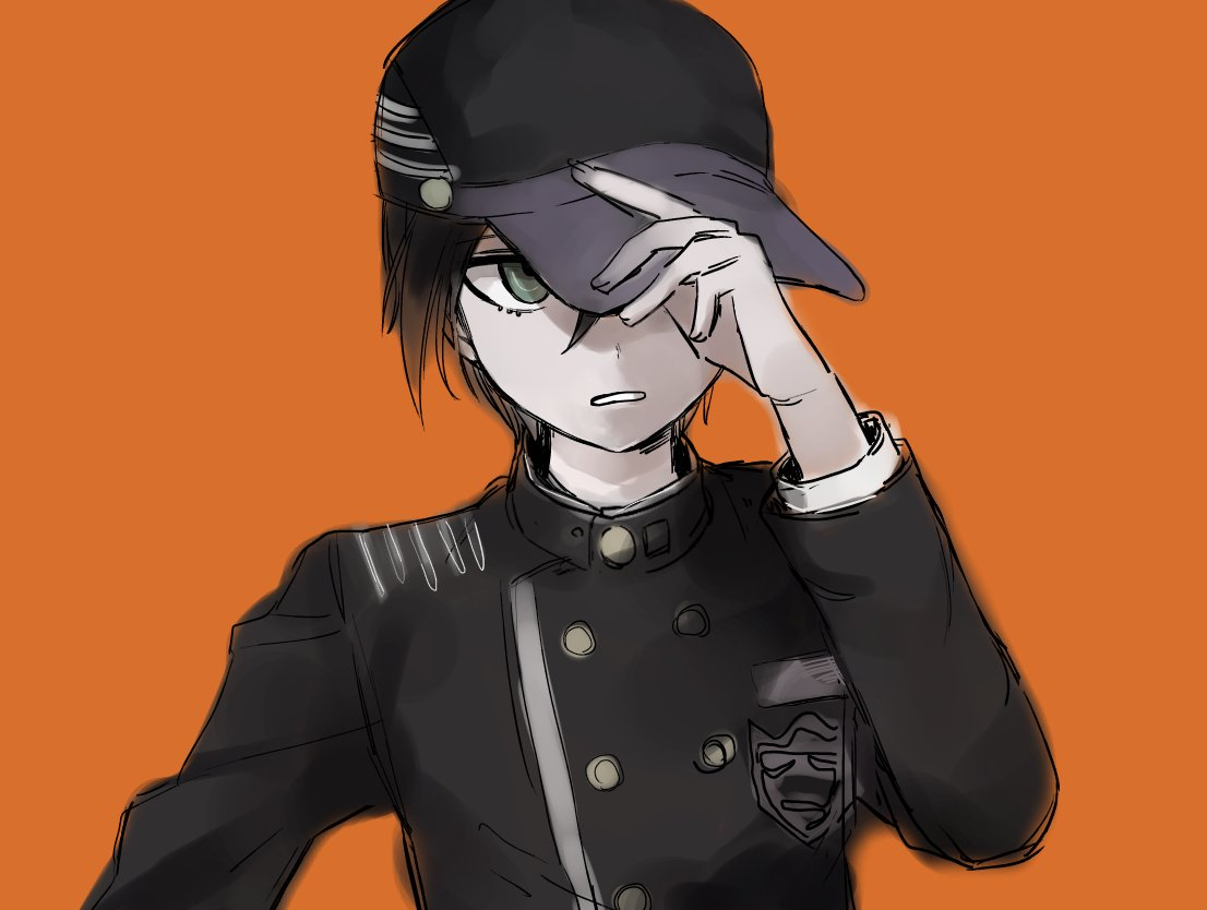 1boy adjusting_clothes adjusting_hat baseball_cap black_hair danganronpa enpitsu_(enpi_tts) gakuran green_eyes hat male_focus new_danganronpa_v3 orange_background school_uniform simple_background solo upper_body