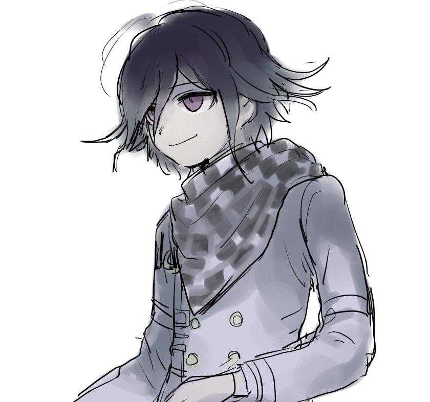 1boy black_hair checkered checkered_scarf coat danganronpa enpitsu_(enpi_tts) flipped_hair male_focus new_danganronpa_v3 scarf simple_background smile solo upper_body violet_eyes white_background
