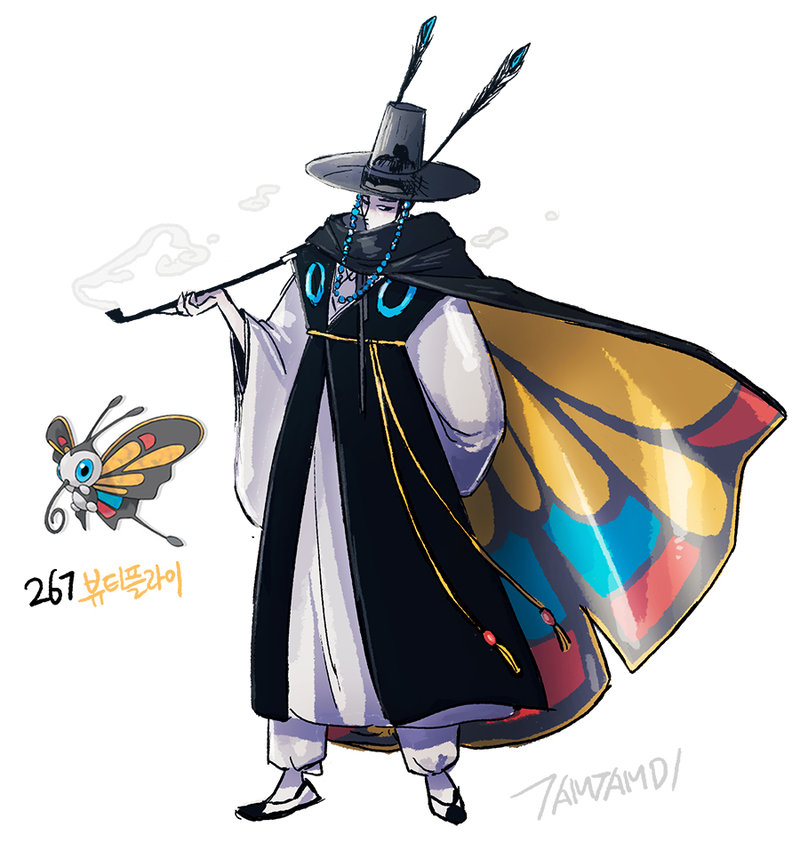 1boy arm_behind_back artist_name beautifly black_hair cape character_name hat korean_clothes pale_skin personification pipe pokemon pokemon_(creature) see-through simple_background smoke tamtamdi white_background