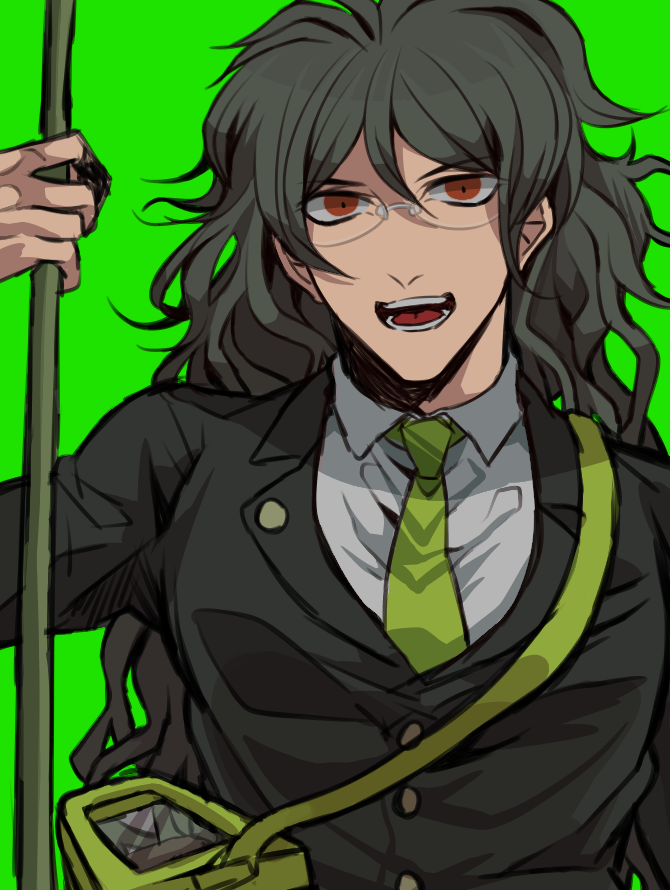 1boy butterfly_net danganronpa formal glasses green_background green_hair hand_net hisida insect_cage long_hair male_focus messy_hair muscle new_danganronpa_v3 orange_eyes simple_background smile solo suit upper_body