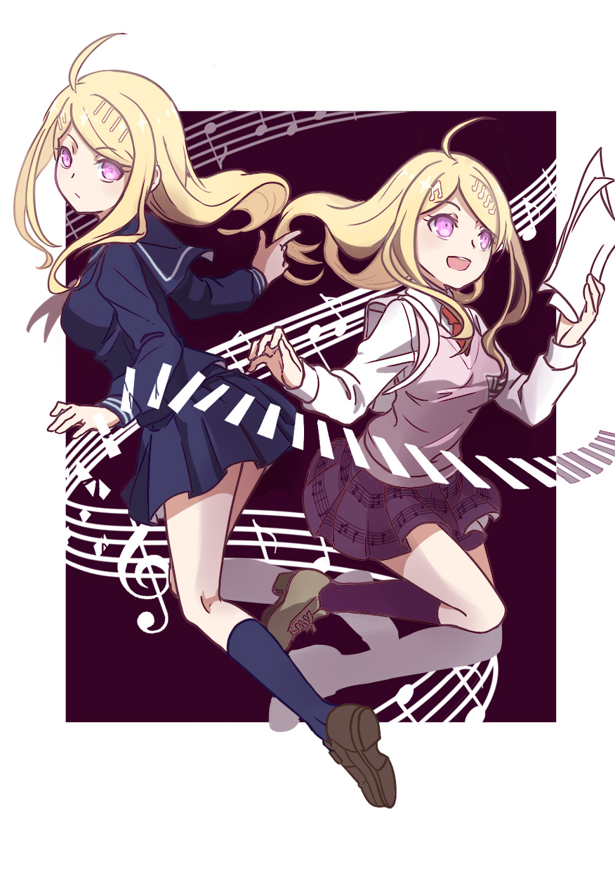 1girl :d ahoge akamatsu_kaede backpack bag bangs beamed_quavers black_legwear black_sailor_collar black_serafuku black_shirt blonde_hair blush breasts brown_footwear closed_mouth collared_shirt danganronpa dual_persona eyebrows_visible_through_hair full_body highres holding kneehighs long_hair long_sleeves medium_breasts miniskirt musical_note musical_note_hair_ornament necktie new_danganronpa_v3 open_mouth paper pleated_skirt print_skirt purple_legwear purple_skirt red_neckwear sailor_collar school_uniform serafuku sheet_music shiro_q~ shirt skirt smile sweater_vest swept_bangs treble_clef violet_eyes white_shirt wing_collar