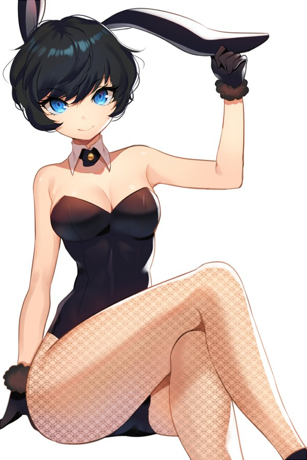 1girl animal_ears arm_at_side bangs bare_shoulders black_gloves black_hair black_legwear black_leotard blue_eyes breasts bunny_girl bunnysuit carchet cleavage closed_mouth collarbone cowboy_shot crossed_legs detached_collar eyebrows eyebrows_visible_through_hair eyelashes fur_gloves fur_trim gloves hand_on_ear hand_up leotard looking_at_viewer medium_breasts original pantyhose print_legwear rabbit_ears short_hair simple_background sitting smile solo strapless strapless_leotard white_background