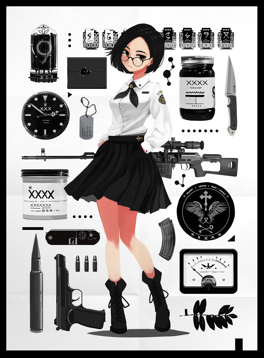 1girl bangs black_border black_hair boots border branch brown_eyes bullet camera carv clock contrapposto dog_tags dragunov_svd earrings full_body glasses gun handgun hands_in_pockets jar jewelry knife leaf long_sleeves looking_at_viewer magazine_(weapon) neckerchief nixie_tube original parted_bangs rifle school_uniform scope shirt short_hair skirt sniper_rifle solo standing stechkin_aps watch weapon white_background white_shirt