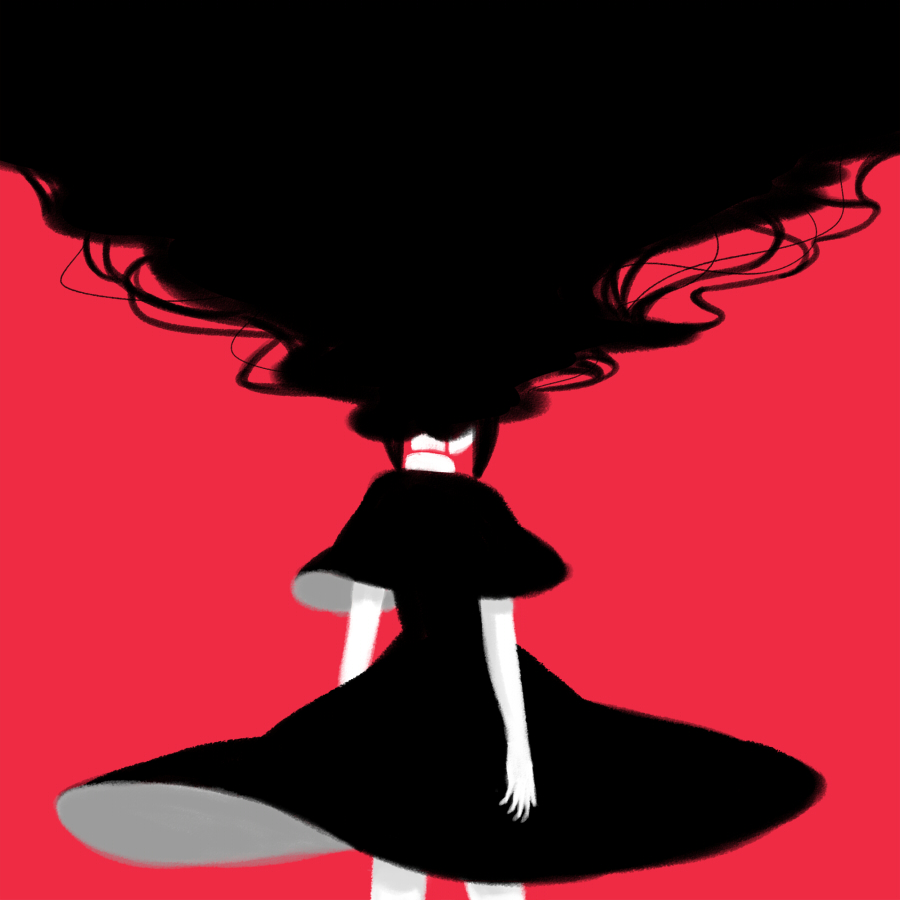 1girl akemi_homura ange black_hair dress from_behind funeral_dress homulilly long_hair mahou_shoujo_madoka_magica red_background simple_background solo very_long_hair