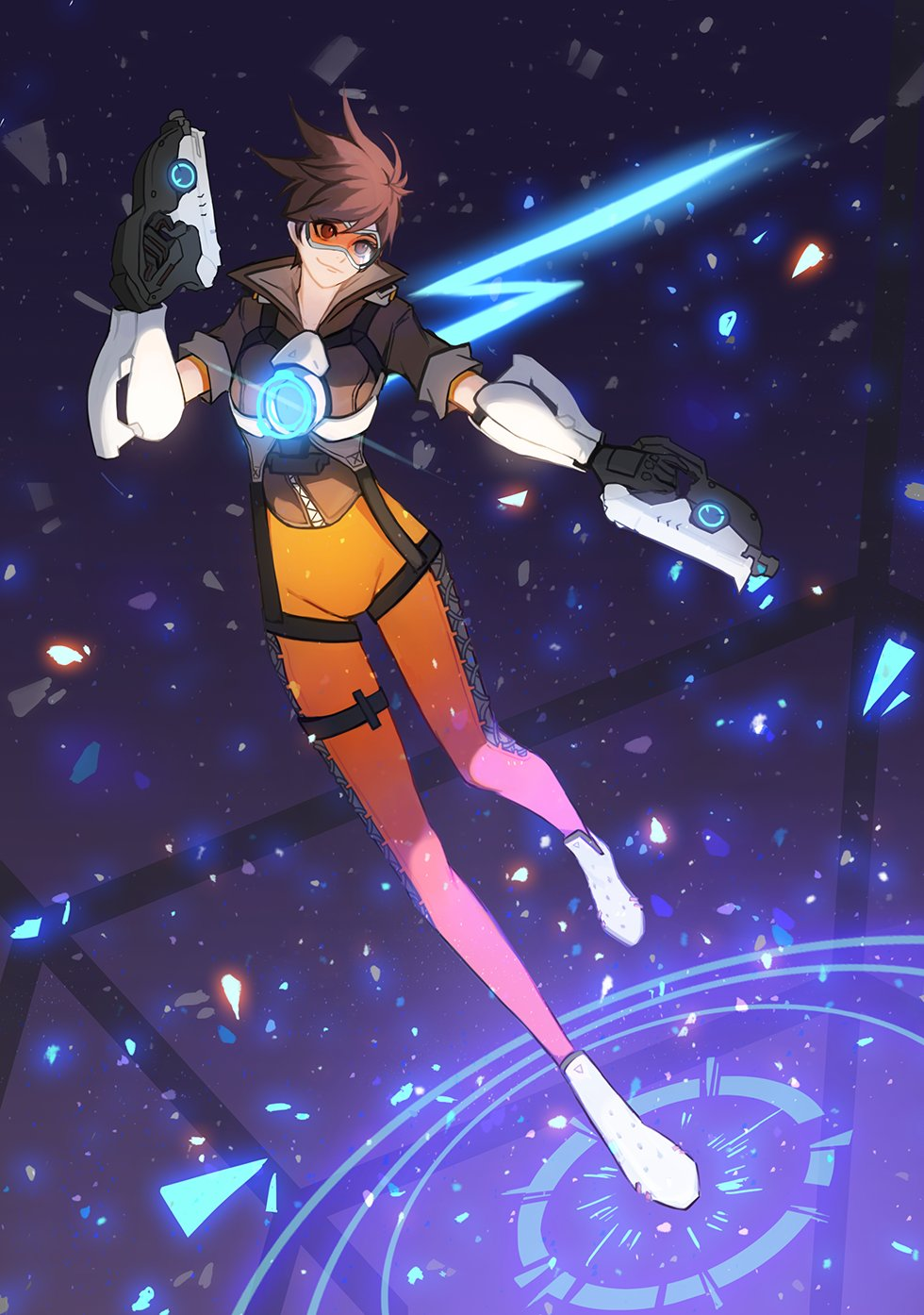 1girl bangs black_gloves bodysuit bomber_jacket breasts brown_eyes brown_hair brown_jacket closed_mouth cross-laced_clothes cross-laced_legwear dual_wielding fur_trim gloves goggles groin gun hand_up handgun harness highres holding holding_gun holding_weapon jacket leather leather_jacket midair neosnim overwatch pants shards shoes short_hair short_sleeves sleeves_rolled_up smile solo spiky_hair strap swept_bangs thigh_strap tight tight_pants tracer_(overwatch) vambraces weapon