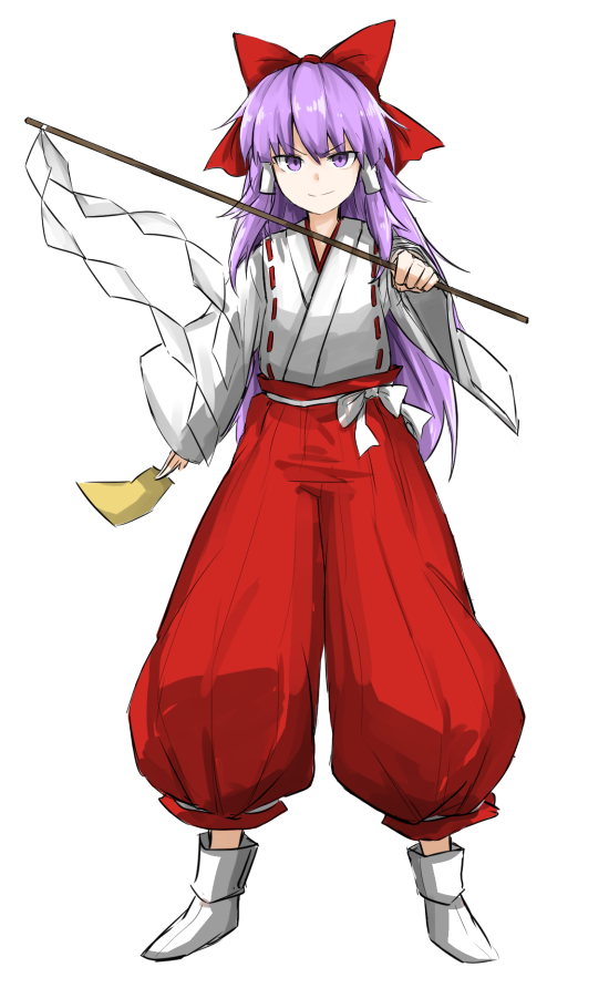 >:) 1girl bow closed_mouth foreshortening full_body gohei hair_bow hakama hakurei_reimu hakurei_reimu_(pc-98) japanese_clothes kan_(aaaaari35) long_hair long_sleeves looking_at_viewer miko purple_hair red_bow sash shoes solo touhou touhou_(pc-98) very_long_hair violet_eyes white_background white_shoes wide_sleeves