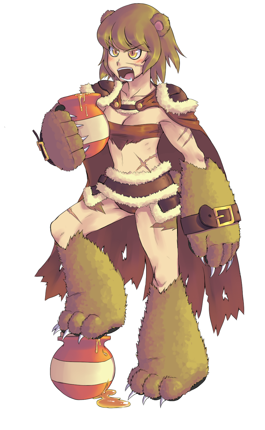 >:o 1girl :o angry animal_ears arm_belt bear_ears bear_paws blush breasts brown_hair cape claws cyzir_visheen facial_scar fangs fur_trim highres holding honey midriff monster_girl open_mouth original paws pot scar short_hair simple_background slit_pupils small_breasts solo teeth torn_cape white_background yellow_eyes