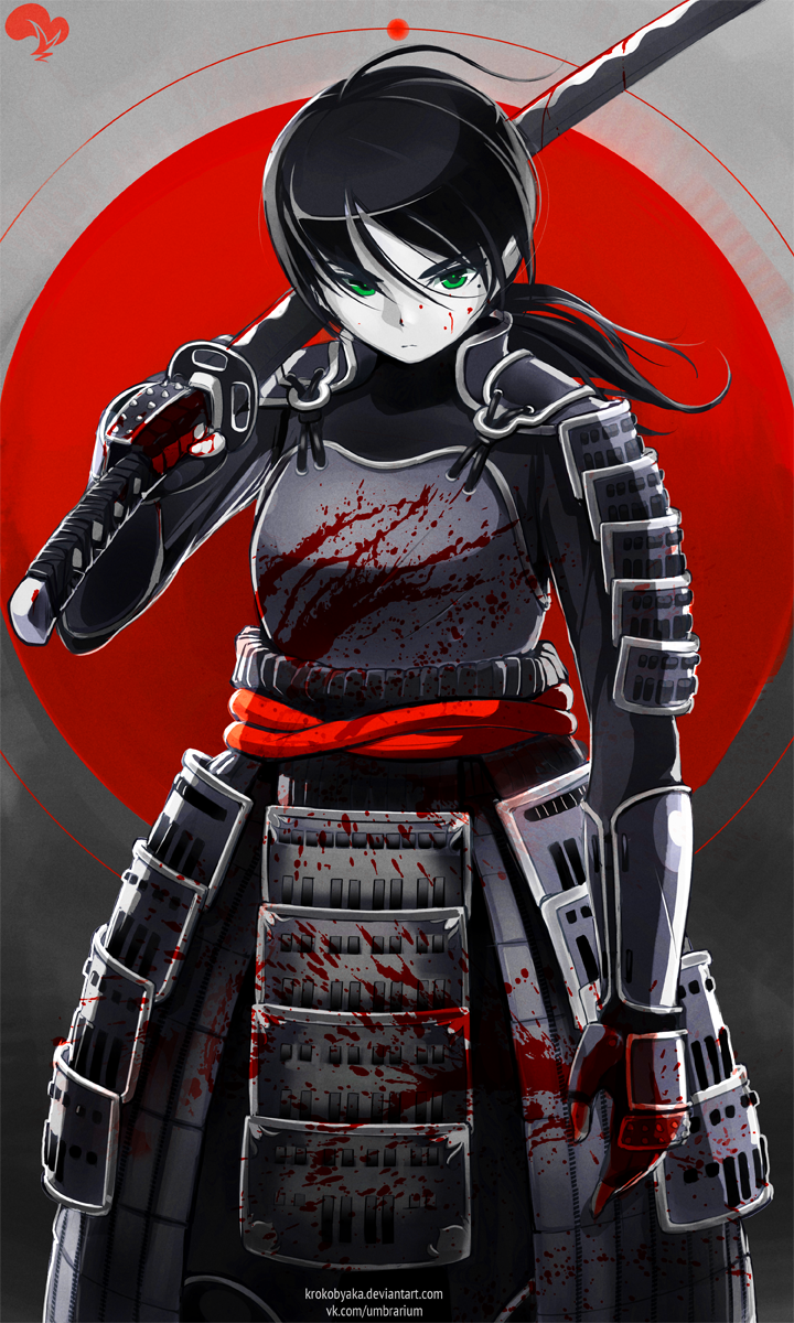 1girl armor black_hair blood blood_splatter bloody_weapon faulds gauntlets green_eyes highres katana krokobyaka long_hair original over_shoulder pauldrons ponytail samurai serious solo sword sword_over_shoulder watermark weapon weapon_over_shoulder web_address
