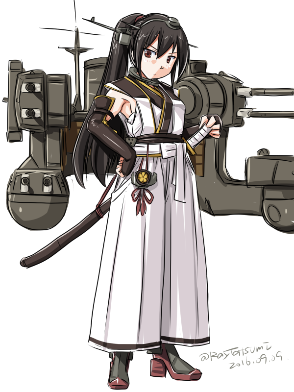1girl adapted_costume armpits bare_shoulders black_hair brown_eyes elbow_gloves fingerless_gloves gloves hairband hakama hand_on_hip japanese_clothes kantai_collection katana machinery nagato_(kantai_collection) ponytail rigging samurai solo sword tatsumi_rei weapon