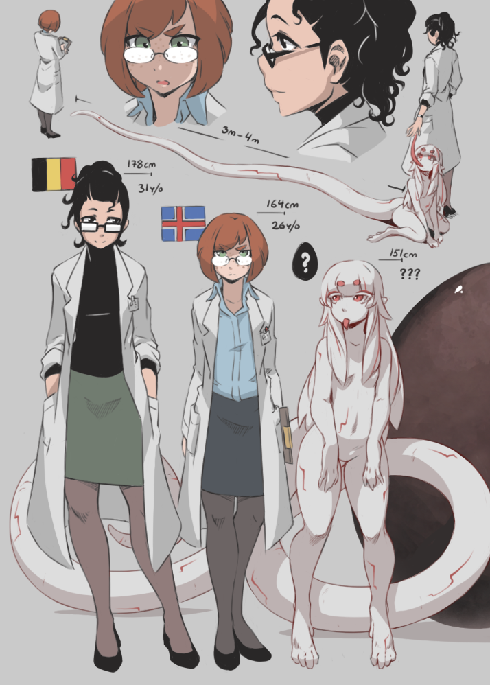 3girls ? alien belgian_flag black_eyes black_hair black_legwear character_age clipboard egg flag freckles glasses grey_background hands_in_pockets height_chart icelandic_flag labcoat long_hair long_tail long_tongue measuring monster_girl multiple_girls original pantyhose pencil_skirt petite-emi pointy_ears red_eyes redhead rimless_glasses short_hair simple_background skirt spoken_question_mark tail tongue tongue_out white_hair white_skin