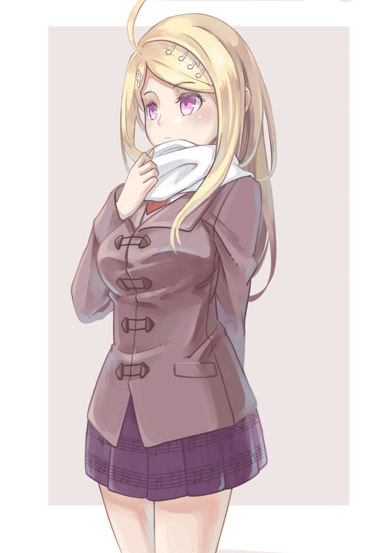 1girl akamatsu_kaede alternate_costume arm_behind_back bangs beamed_quavers blonde_hair blush breasts brown_background closed_mouth cowboy_shot crochet danganronpa duffel_coat eyebrows_visible_through_hair long_hair long_sleeves looking_afar looking_away medium_breasts musical_note musical_note_hair_ornament musical_note_print new_danganronpa_v3 pleated_skirt print_skirt purple_skirt quaver scarf shiro_q~ simple_background skirt solo standing swept_bangs tareme violet_eyes white_scarf