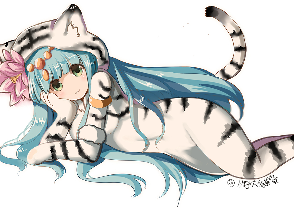 1girl :3 animal_costume aqua_hair armlet blush cosplay costume covered_navel flower green_eyes hair_flower hair_ornament halloween kigurumi long_hair lotus lunacats lying on_side parvati_(p&d) puzzle_&_dragons signature simple_background solo tiger_costume tiger_print white_background