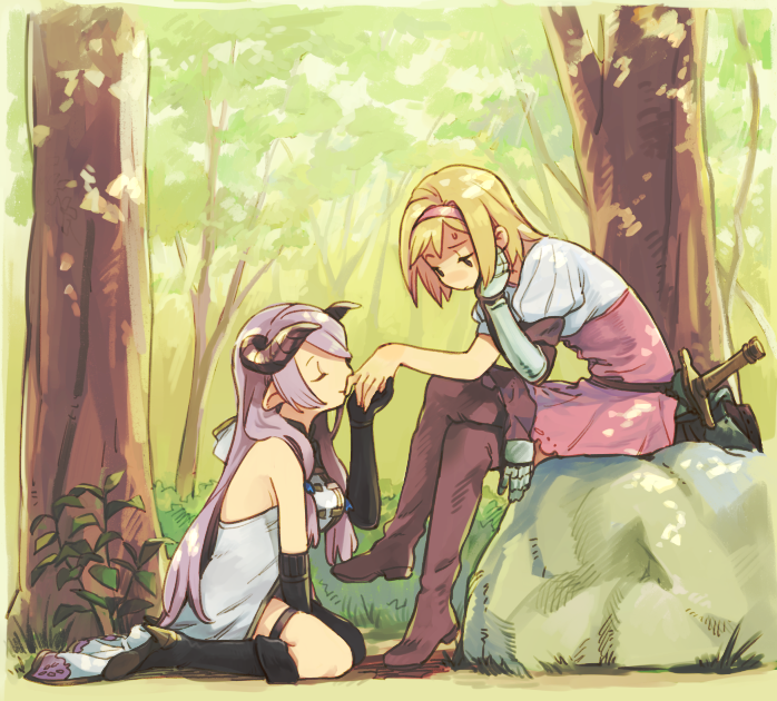 2girls between_legs black_boots blonde_hair blush boots brown_eyes closed_eyes crossed_legs djeeta_(granblue_fantasy) doraf dress elbow_gloves fighter_(granblue_fantasy) forest gauntlets gloves granblue_fantasy hairband hand_between_legs hand_kiss head_on_hand horns kiss lavender_hair multiple_girls narumeia_(granblue_fantasy) nature outdoors pink_dress pointy_ears puffy_short_sleeves puffy_sleeves rock seiza short_hair short_sleeves sitting sweatdrop sword takishima_asaka weapon yuri