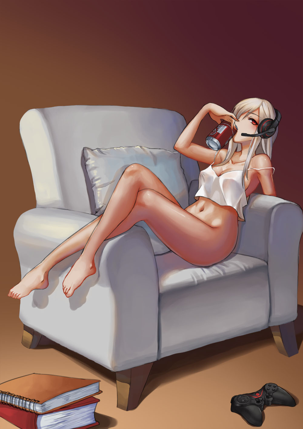 1girl armchair bangs bare_arms bare_legs bare_shoulders barefoot book book_stack bottomless breasts brown_background camisole can chair cleavage collarbone controller covered_nipples crop_top crop_top_overhang crossed_legs cushion drinking error eyelashes from_side full_body game_controller hand_up headphones headset highres holding knees_up leaning_back long_hair looking_at_viewer medium_breasts microphone navel notebook original pillow revision shade shiny shiny_skin shiraha_(pixiv10239953) sitting sitting_sideways soda_can solo spaghetti_strap stomach strap_slip tan white_hair
