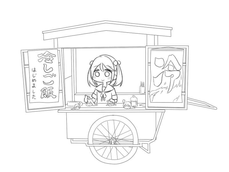 2girls ahoge daifuku_(usagi_pie) food_stand hiya_gohan_(style) kantai_collection monochrome multiple_girls petting sazanami_(kantai_collection) school_uniform serafuku smile snail twintails ushio_(kantai_collection)