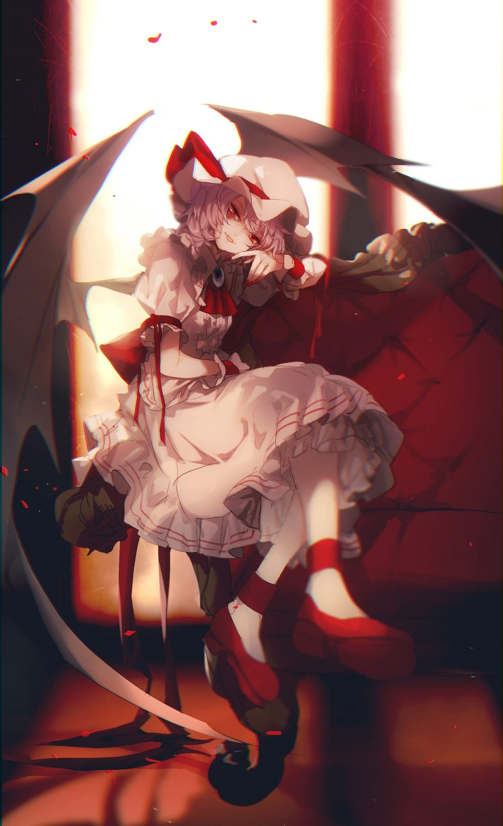 1girl ascot bat_wings blurry brooch couch crossed_legs depth_of_field hat hat_ribbon head_tilt highres indoors jewelry lavender_hair looking_at_viewer mob_cap no-kan petals red_eyes red_ribbon red_shoes remilia_scarlet ribbon rose_petals shirt shoes short_hair sitting skirt solo touhou wings