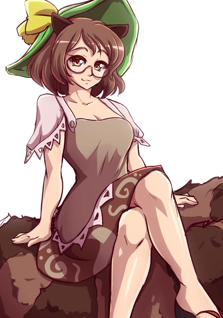 1girl :3 animal_ears brown_eyes brown_hair crossed_legs futatsuiwa_mamizou glasses hat highres mazume raccoon_ears raccoon_tail sandals sitting skirt smile tail touhou
