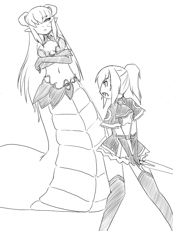 2girls alisfieze_fateburn_xvi camel_(dansen) cecil_(mon-musu_quest!) crossed_arms facial_mark female lamia long_gloves midriff mon-musu_quest! monochrome monster_girl multiple_girls navel open_mouth pointy_ears ponytail profile sword thigh-highs weapon