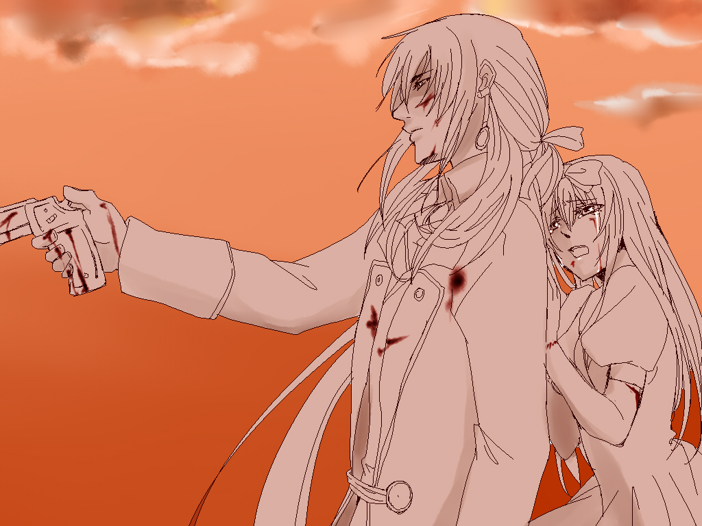 1boy 1girl alice_liddell angry blood bow clouds coat crying dress earrings gradient gradient_background gun heart_no_kuni_no_alice injury jewelry julius_monrey long_hair long_sleeves monochrome outdoors ponytail serious sky tears weapon yomoyama_(toirets)