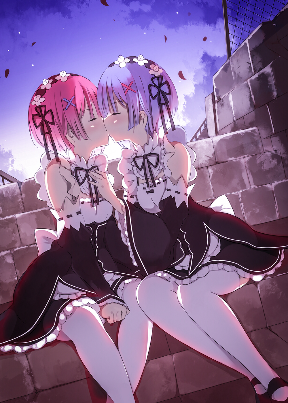 2girls bad_id blue_hair closed_eyes detached_sleeves hair_ornament hair_ribbon hand_on_another's_chest highres incest kiss maid maid_headdress mary_janes multiple_girls petals pink_hair ram_(re:zero) re:zero_kara_hajimeru_isekai_seikatsu rem_(re:zero) ribbon senya_fuurin shoes short_hair siblings sisters sitting thigh-highs twincest twins white_legwear wide_sleeves x_hair_ornament yuri
