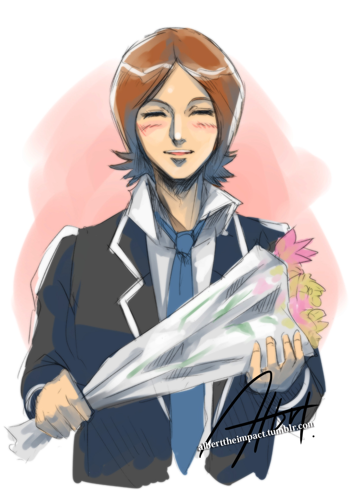 1boy blazer blue_necktie blush bouquet brown_hair closed_eyes flower jacket male_focus necktie persona persona_2 school_uniform signature smile solo suou_tatsuya tumblr_username
