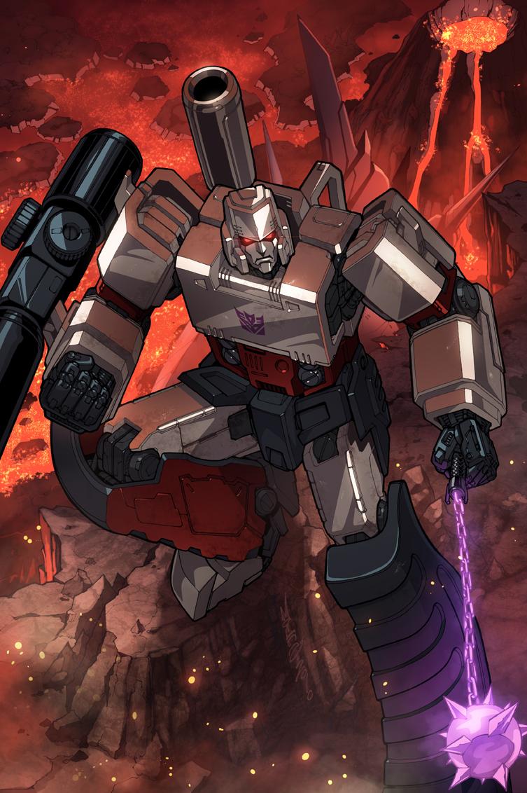 alex_milne badge cannon decepticon flail insignia mecha megatron molten_rock morning_star no_humans robot science_fiction solo transformers volcano weapon