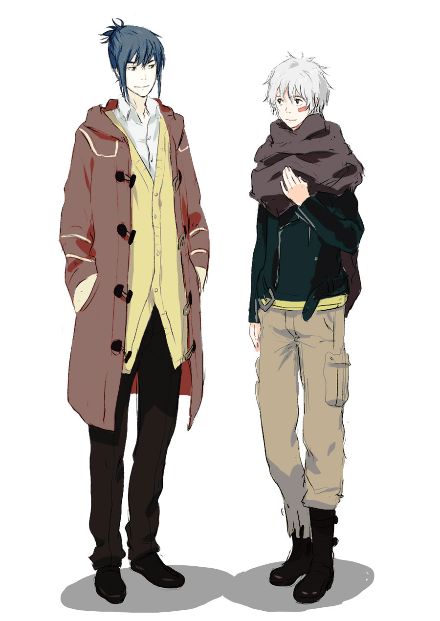 2boys blue_hair boots cargo_pants coat cosplay facial_mark full_body hands_in_pockets highres jacket looking_at_another male_focus multiple_boys nadzomi_viro nezumi_(no.6) nezumi_(no.6)_(cosplay) no.6 pants red_eyes scarf shion_(no.6) shirt short_hair sion_(no.6)_(cosplay) smile white_hair