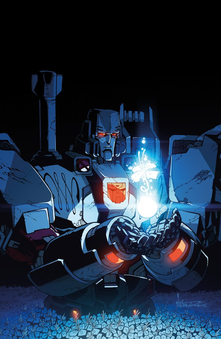 1boy alex_milne autobot cannon flower glowing hologram insignia machine machinery mecha megatron no_humans personification red_eyes robot sad science_fiction solo transformers