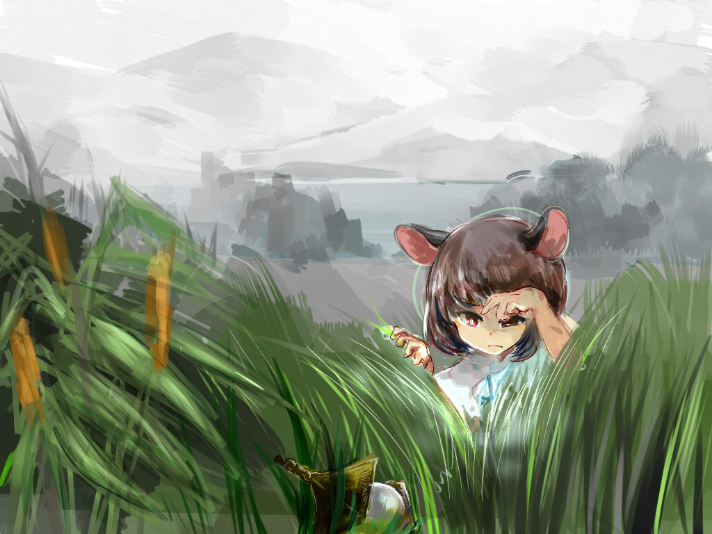 1girl alternate_hair_color animal_ears bishamonten's_pagoda brown_hair capelet cattail chidori_nekoro expressionless fog glowing grass grey_sky half-closed_eyes looking_down mouse_ears nazrin plant red_eyes searching short_hair solo touhou water