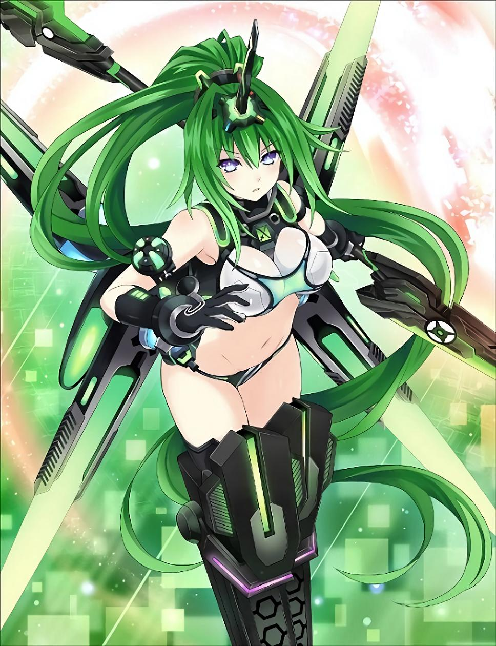 1girl absurdly_long_hair bangs bare_shoulders blue_eyes breasts choujigen_game_neptune crop_top green_hair green_heart headgear highres horn large_breasts long_hair looking_at_viewer navel neptune_(series) next_green ponytail power_symbol solo symbol-shaped_pupils tsunako vert very_long_hair weapon