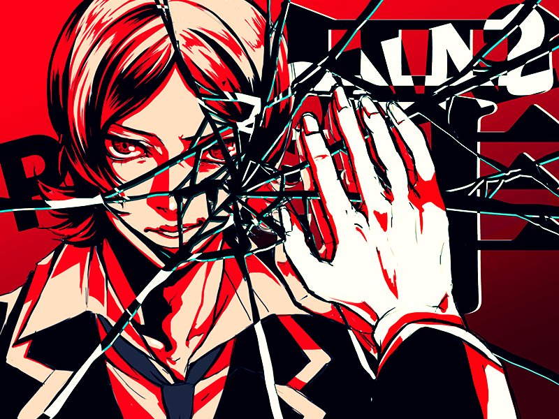 1boy close-up copyright_name crack cracked_glass flipped_hair limited_palette male_focus necktie parted_lips persona persona_2 reflection school_uniform smile smirk smug spot_color suou_tatsuya yasui_(neu032)