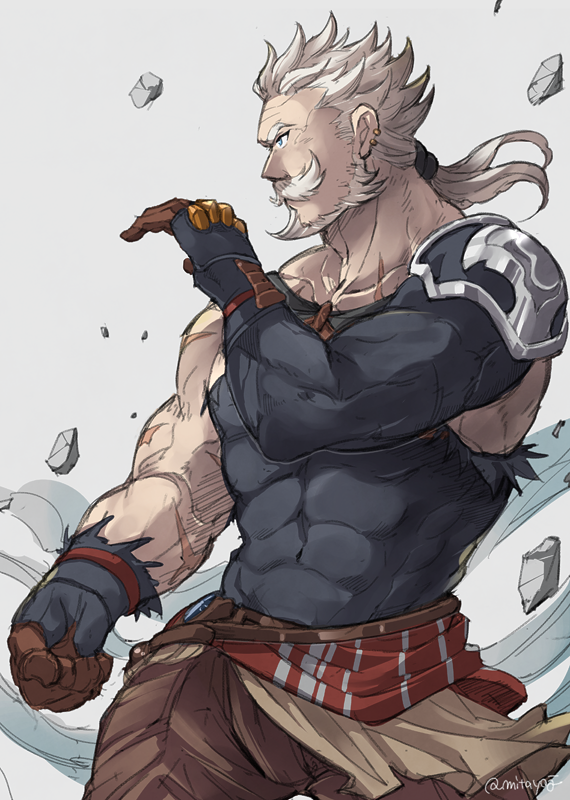 1boy beard blue_eyes clenched_hand cowboy_shot earrings facial_hair fighting_stance granblue_fantasy grey_background jewelry male_focus muscle mustache old_man ponytail rock scar simple_background solo soriz twitter_username wind wind_lift yji