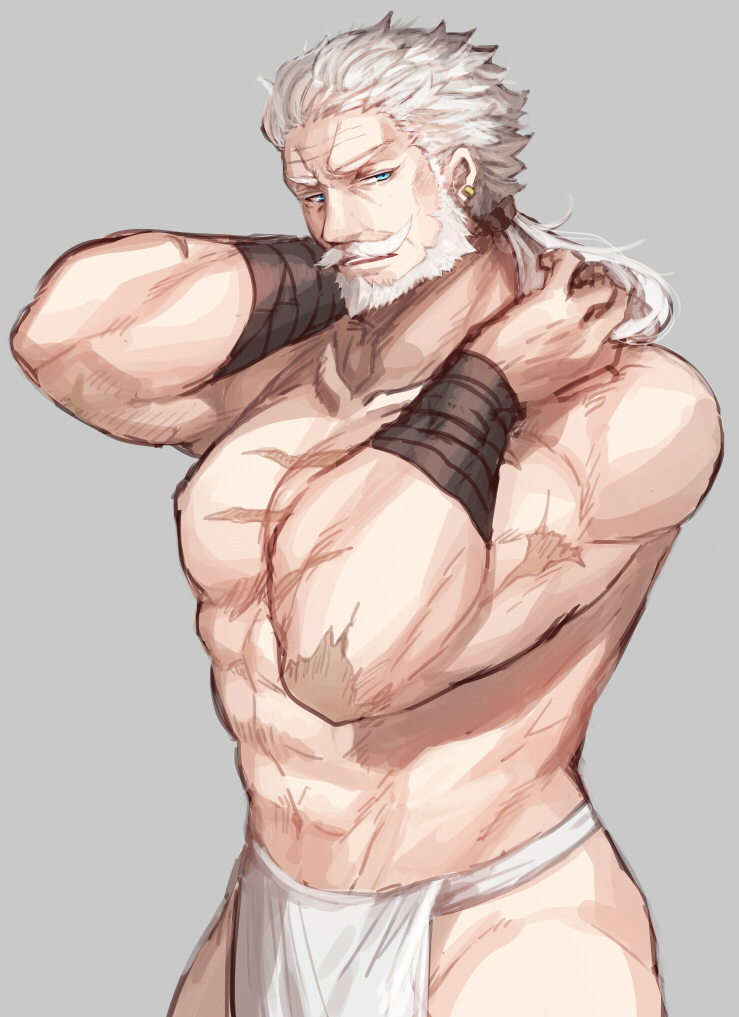 1boy beard earrings facial_hair fundoshi granblue_fantasy grey_background haneten_kagatsu japanese_clothes jewelry looking_at_viewer male_focus manly muscle old_man ponytail solo soriz white_hair