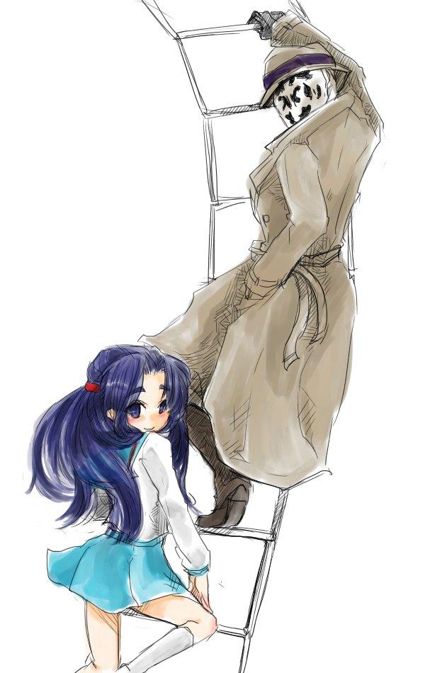 asakura_ryouko blue_eyes blue_hair climbing crossover dc_comics hase_fuuko hat ladder long_hair m.u.g.e.n mask mugen_(game) rorschach school_uniform sketch suzumiya_haruhi_no_yuuutsu trench_coat trenchcoat watchmen