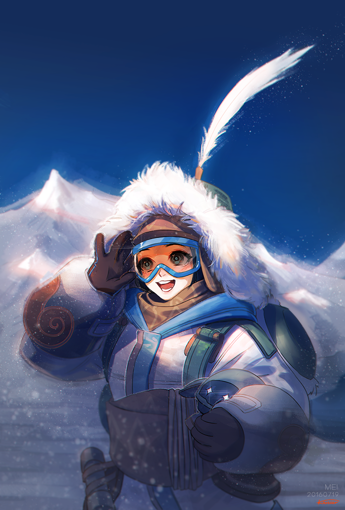 1girl blue_sky coat feathers fur_trim hand_on_goggles krusier long_sleeves mei_(overwatch) mountain open_mouth outdoors overwatch ski_goggles sky smile snow solo upper_body
