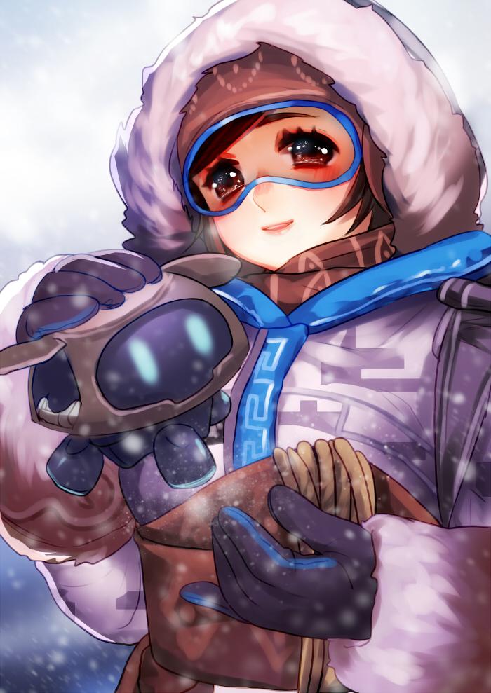 1girl anyezi brown_eyes coat fur_coat fur_trim glasses mei_(overwatch) overwatch ski_goggles smile snowing solo upper_body