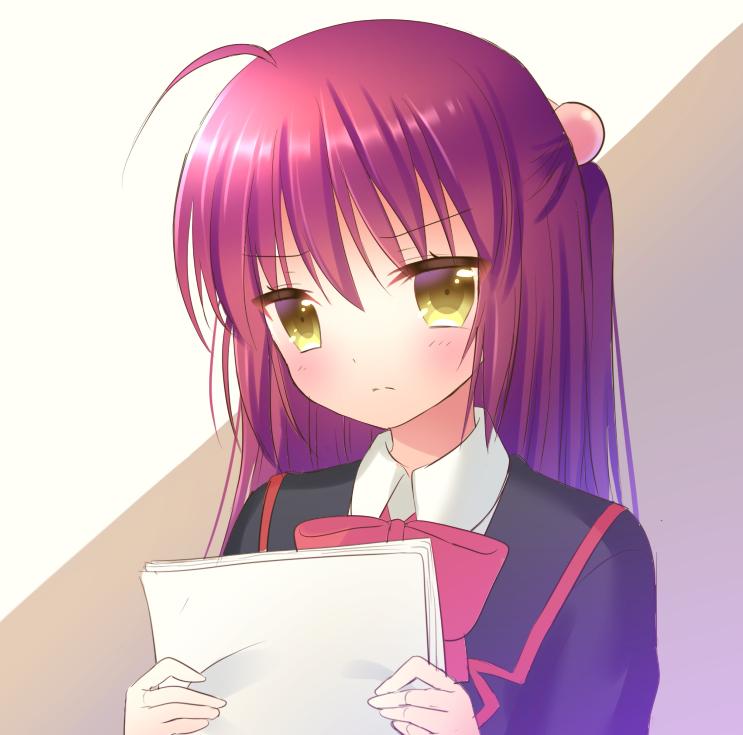 1girl brown_eyes futaki_kanata hair_bobbles hair_ornament kuro_futoshi little_busters! long_hair looking_at_viewer paper purple_hair ribbon school_uniform solo